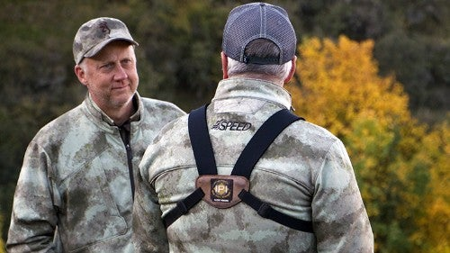 Two hunters wearing Hell's Canyon Speed hunting clothing.