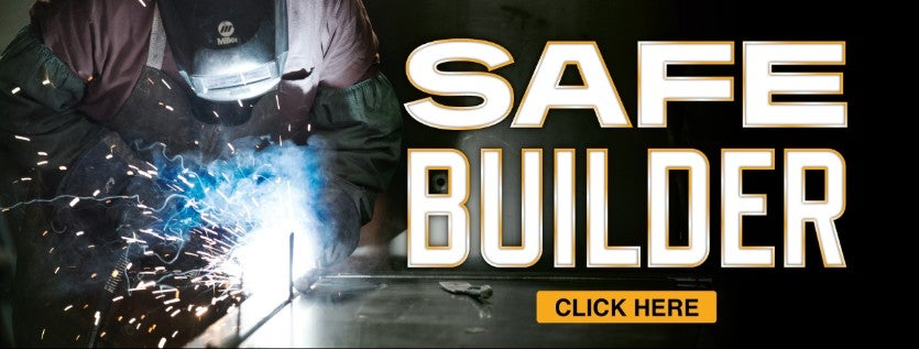 Picture of safe being welded with the words Safe Builder and Click Here. Takes you to the main safe page.