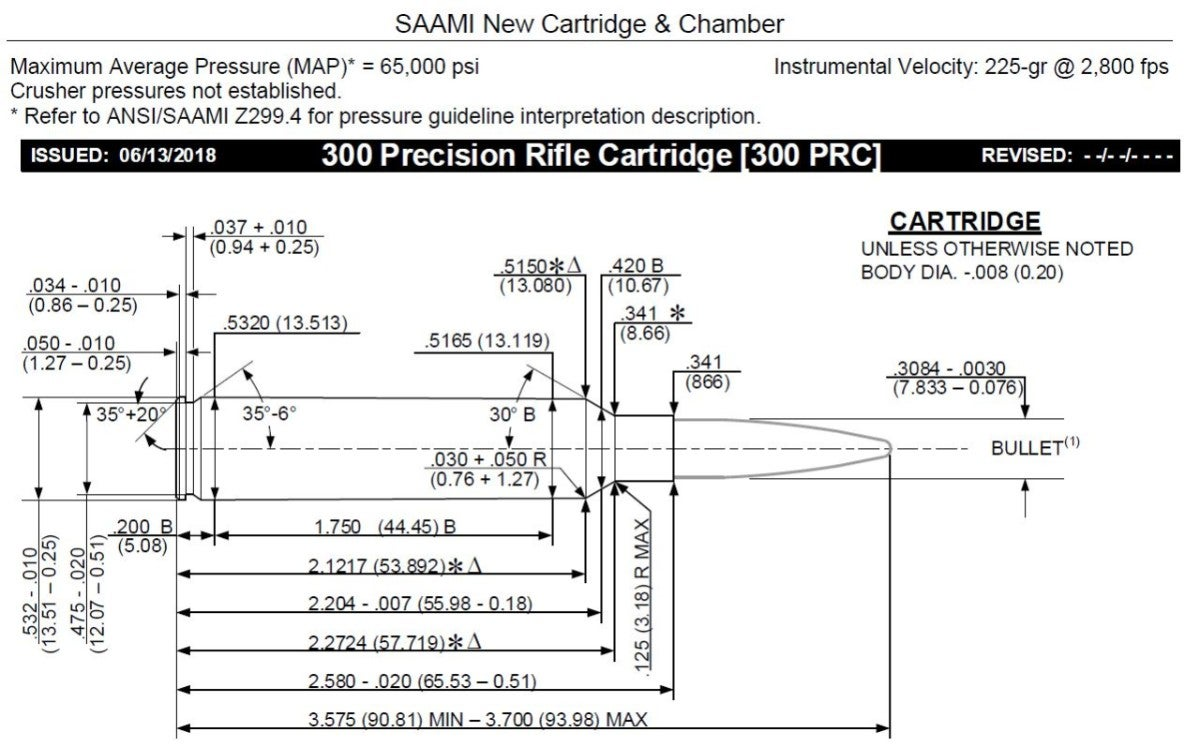 SAAMI Document -- Drawing of 300 PRC cartridge with dimensions