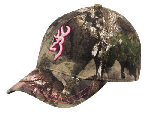 11d86c872 Hook and loop closure, six-panel women's cap with raised white and pink  Buckmark, contrasting magenta thread, and Mossy Oak ® Break-Up Country ®  camo