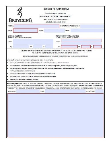Service Return Form