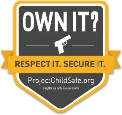 Own it. Respect it. Secure it. Project Childsafe logo and link.